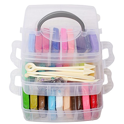 Polymer Clay 50 Colors Liyuan [Enjoy Playing Box] Soft Modelling Clay Set for Child Nontoxic Malleable Toys ,5 pcs Modeling Tools with Accessories