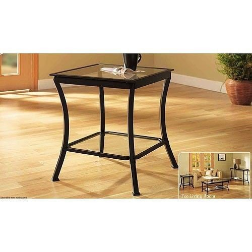 Mendocino Side & End Table, Metal & Glass Side Accent Living Room Furniture Set Modern Stylish Shelf (1) (Table Mendocino)