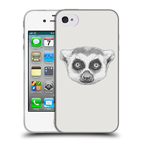 GoGoMobile Coque de Protection TPU Silicone Case pour // Q05390631 Portrait lémurien Platine // Apple iPhone 4 4S 4G