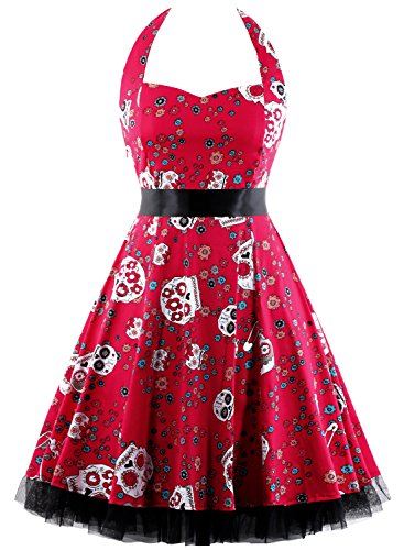 OTEN Women's Floral Vintage 1950s Halter Rockabilly Gown Cocktail Party Dress (X-Large, Sugar (Red Skull Costume)