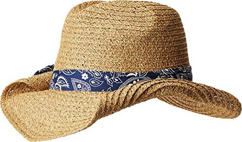 San Diego Hat Company Women's Bandana Print Band Paper Cowboy Hat, Natural, Blue, One - Paper Bandana Straws