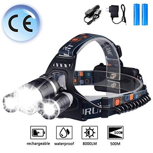 Zingber LED Headlamp Rechargeable, 8000 Lumen Headlight, 100% Waterproof, 90° Adjustable Flashlight, Perfect Head Light for Camping, Hiking, Outdoors