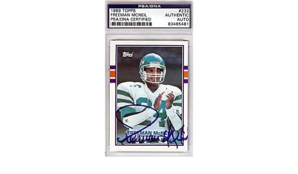 71dfce00069 Freeman McNeil Autographed 1989 Topps Card #232 New York Jets #83465481 -  PSA/DNA Certified - NFL Autographed Football Cards at Amazon's Sports  Collectibles ...