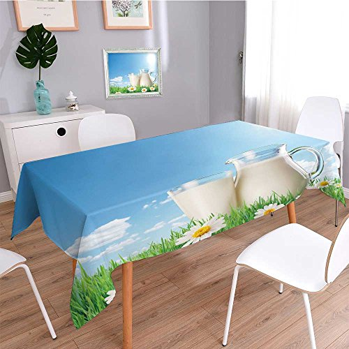 Printed Fabric Tablecloth,milk jug and glass on the grass with chamomiles on a background of the sunny sky with clouds,Heavyweight Wrinkle-Free Stain Resistant - Skirts Sunny Leigh