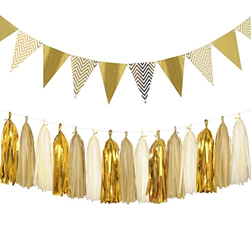 Sparkly Paper Pennant Banner Triangle Flags Bunting 8.2 Feet and Tissue Paper Tassels Garland 15 pcs for Baby Shower, Birthday Party Wall Decorations, Metallic Gold