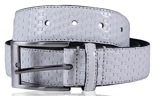 Click Selfie New Mens 35mm Wide Real Reptile Skin Leather Pin Buckle Belts White - Casual Office Wear Belts XL