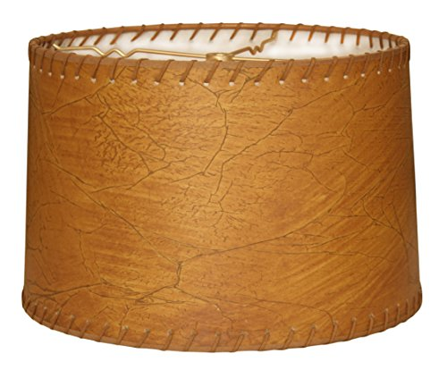 Royal Designs Shallow Drum Lamp Shade, Dark Brown Faux Leather with Lace, 9 x 10 x (Lighting Faux Leather)