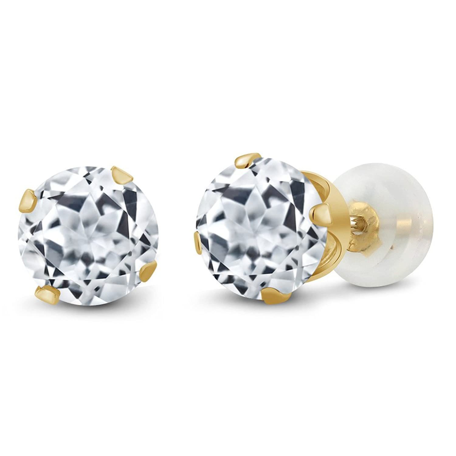 1.80 Ct Round 6mm White Topaz 10K Yellow Gold Stud Earrings