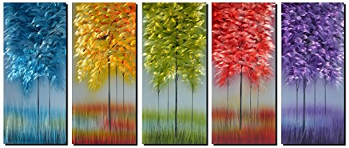 Metal Wall Art with Bog Life Multi-Colored Tree, 3D Abstract Design