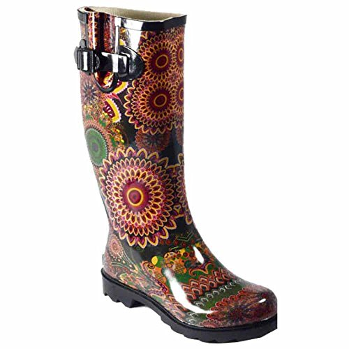 Red Size Boot Rain Corky's in Black Sunshine 6 Geometric z4qIIx0n