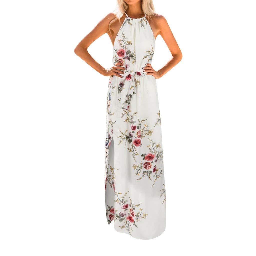 COOKI Women Dresses Halter Split Boho Maxi Dress Floral Printed Long Dress Beach Summer Sundress Evening Party Dress