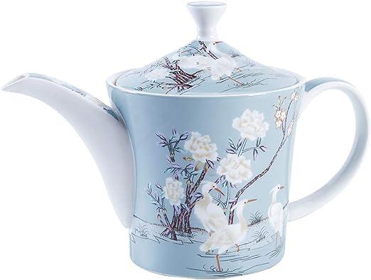 fanquare 27 oz Azul Cafetera de Fine Bone China, Tetera de ...