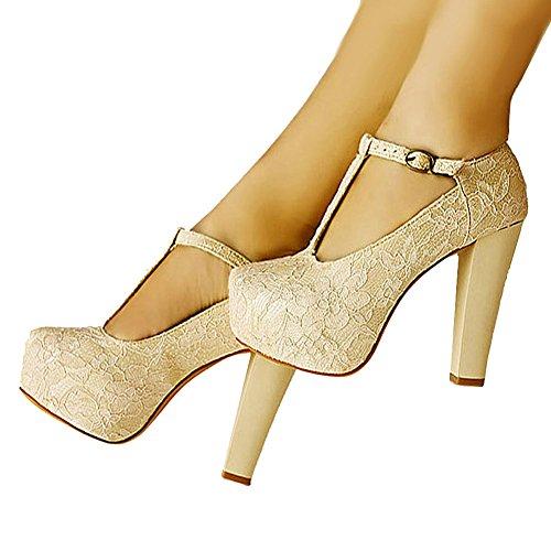 Wedding T Lace getmorebeauty Dress Beige Shoes Strappy Women Women's Janes Marty 6qqw8fp