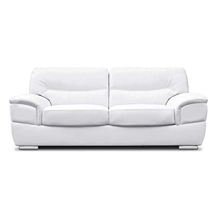 Awe Inspiring Sofamode Anton 3 Seater White Leather Sofa Amazon Co Uk Gamerscity Chair Design For Home Gamerscityorg