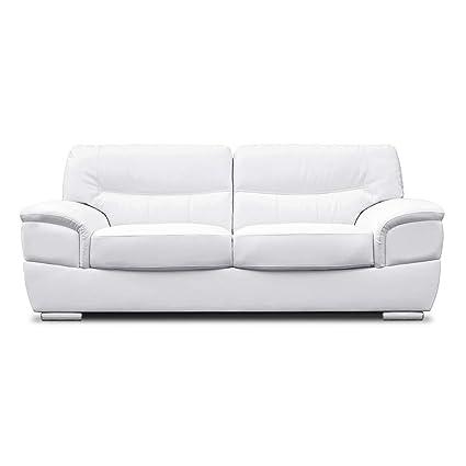 Pleasant Sofamode Anton 3 Seater White Leather Sofa Amazon Co Uk Customarchery Wood Chair Design Ideas Customarcherynet