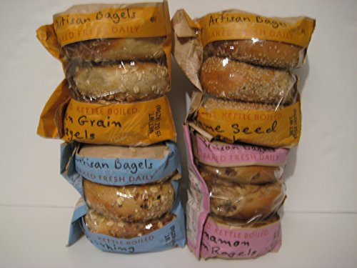 Artisan By Trader Joe's Fresh Baked Bagels Bundle: (3)- Everything. (3)- Sesame, (3)- Cinnamon Raisin, (3)- Seven Grain Baked in Nyc!