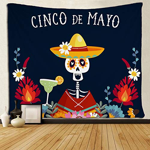 SARA NELL Wall Tapestry Cinco De Mayo Greeting Invitation Tapestries Hippie Art Wall Hanging Throw Tablecloth 60X90 Inches for Bedroom Living Room Dorm Room ()