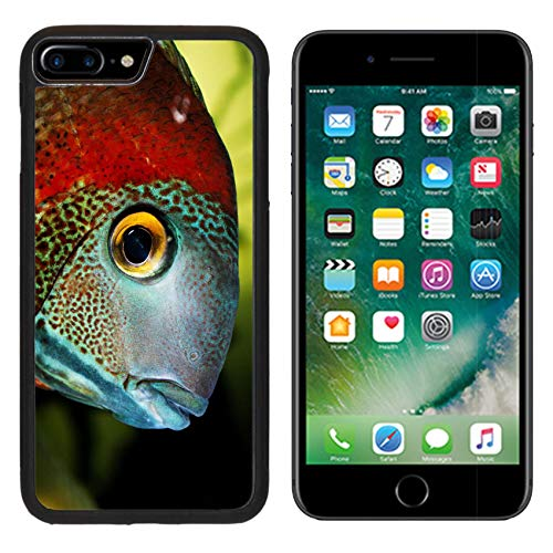 Luxlady iPhone 7 plus Case iPhone 8 plus Case TPU Silicone Bumper Shockproof Anti-Scratch Resistant Hard Tempered Glass Cover IMAGE ID: 38874690 Beautiful fish in the (Aquarium Tempered Glass)