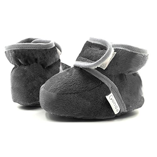 CONDA Baby Booties Girl & Boy Infant Fleece Slippers - Charcoal Soft Cozy and Colorful Baby Shoes 6-18 Months