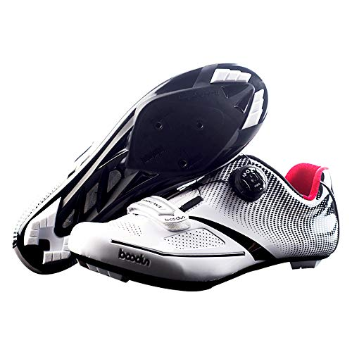 Adult's A2 MTB or Road Synthetic Cycling Shoe Mountain Bike Road Cycling Shoes Professional Racing (8 M US, A2-Road-White)