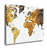 Ashley Canvas, World Map Cut Out In Antique Grunge Wood, Home Decoration Office, Ready to Hang, 20x25, AG6570244