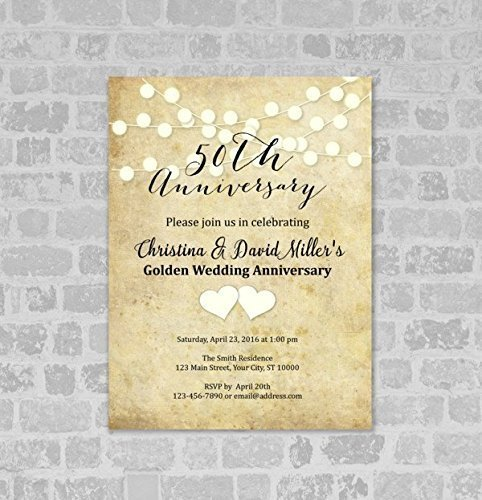 (50th Wedding Anniversary Invitation, String of Lights 50th Anniversary Invites)