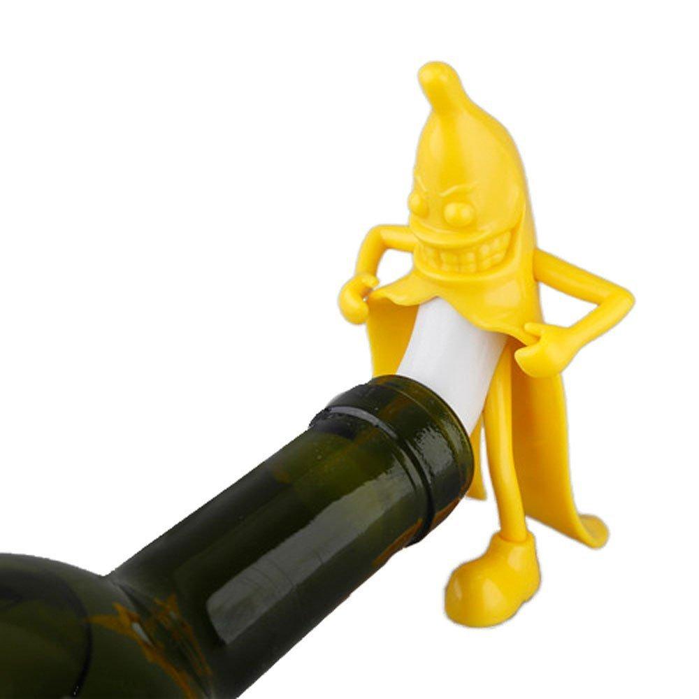 Bouteille de bouteille de vin de banane Barre de nouveaut/é Bouchon de bouchon Outils Bonne bouteille de vin dhomme Plug Perky Cadeaux int/éressants