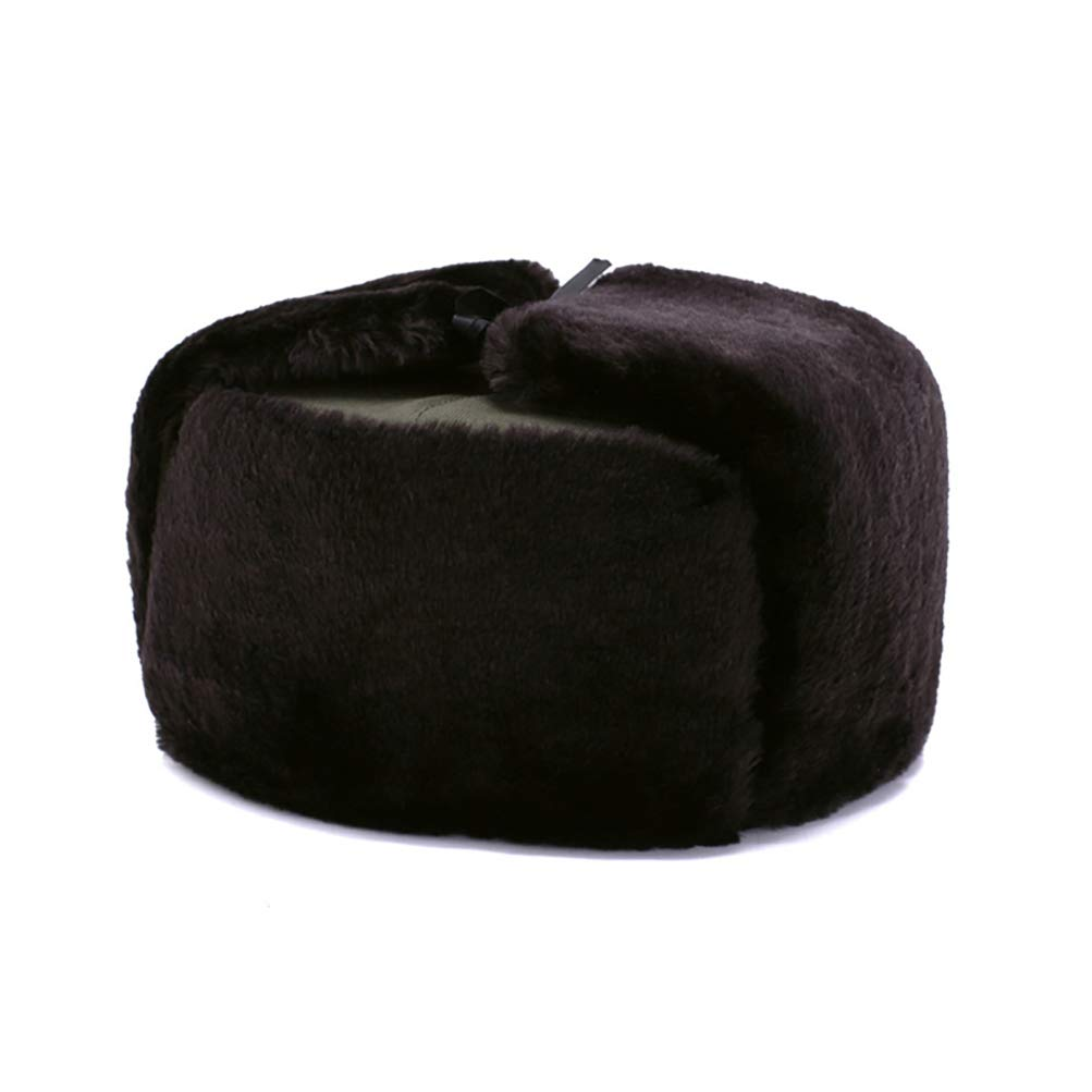 Ellis Men's PU Leather Trapper Hat, Winter Warm Hunter Ushanka Ear Flaps Cap