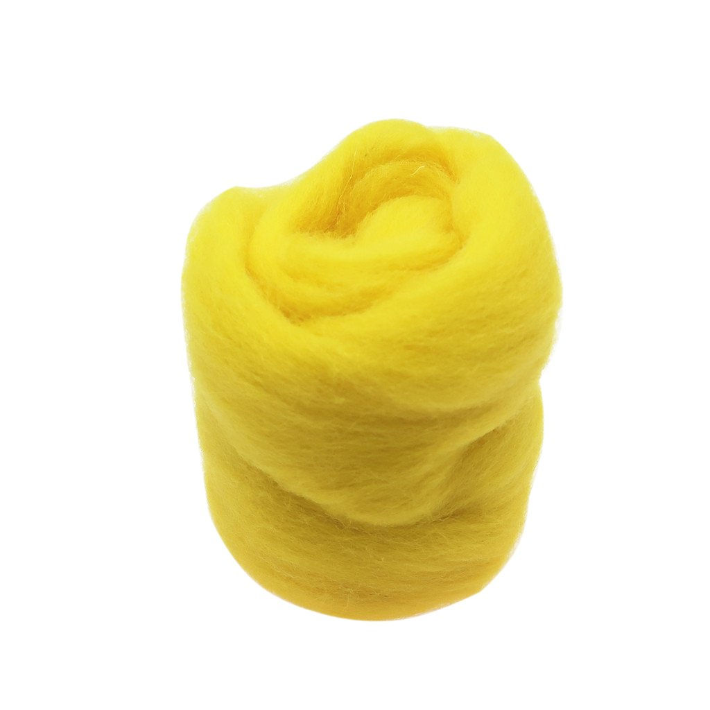 Flameer 10g Soft Wool Fibre Top Roving Dyed Spinning Wet Felting Fiber for DIY Materials Yellow