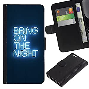 For Apple iPhone 6 Plus(5.5 inches),S-type® Party Neon Light Sign Quote - Dibujo PU billetera de cuero Funda Case Caso de la piel de la bolsa protectora