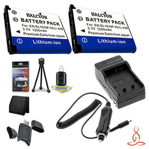 Two Halcyon 1200 mAH Lithium Ion Replacement NP-45A Battery and Charger Kit + Memory Card Wallet + SDHC Card USB Reader + Deluxe Starter Kit for Fujifilm Finepix T550 Digital Camera and Fujifilm NP-45A