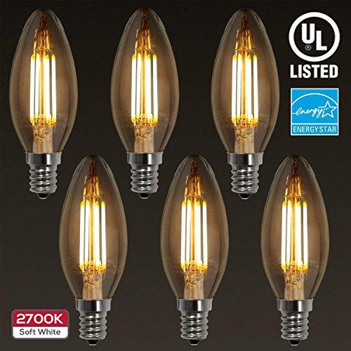 (6-PACK LED Filament Candelabra E12 Bulb, ENERGY STAR, UL-listed Vintage Candle Light, 2700K Soft White, 4W (40W Incandescent Equiv.), 300° Beam Angle for Chandelier, Wall Sconces, Pendant Lighting)