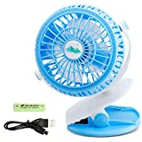 OKEE Clip Desktop Fan,Personal Fan Portable HandHeld Fan,Battery Operated Clip Fan ,USB Rechargeable Fan Powered by 2200mAh Battery (Blue)