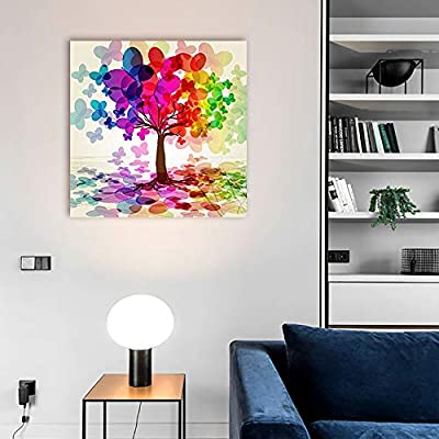 Made With Top Quality, Amazing Technique, Abstract Colorful Tree (Rainbow Abstract Butterfly) Wall Decor