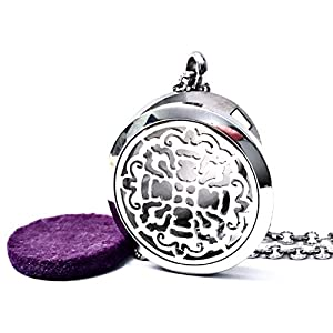 FIKA Old World Cross Aromatherapy Essential Oil Diffuser 316 Stainless Steel Pendant Necklace (Silver)