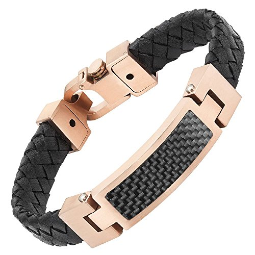 Mens Black Leather Bracelet Rose with Black Carbon Fiber in Gift Box By Willis Judd
