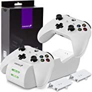 Fosmon Xbox One/One X/One S/One Elite Dual Controller Charger, [Dual Slot] High Speed Docking Charging Station with 2 x 1000