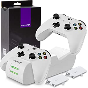 Fosmon Xbox One/One X/One S/One Elite Dual Controller Charger, [Dual Slot] High Speed Docking Charging Station with 2 x 1000mAh Rechargeable Battery Packs - White