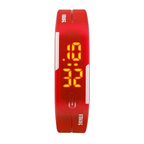 Reloj de pulsera,Jalea reloj digital Llevó reloj de pulsera Gomita Luminoso Tiempo de la demostración Estudiante infantil Parejas-B: Amazon.es: Relojes