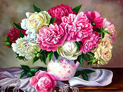 Flower Diamond Painting Kits for Adults Kids, 5D Full Drill Diamond Art by Number Embroidery Cross Stitch Kits DIY Canvas Oil Painting Rhinestones Pictures Craft for Home Wall D