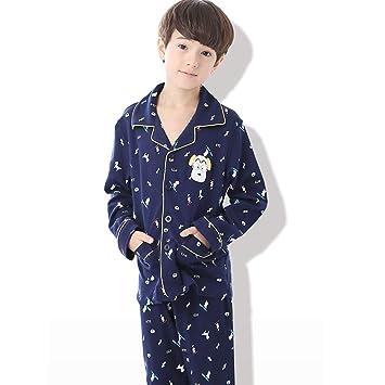 Meng Wei Shop Pijamas Dos Piezas Pijamas para niños Niño Primavera y otoño Pijamas de algodón