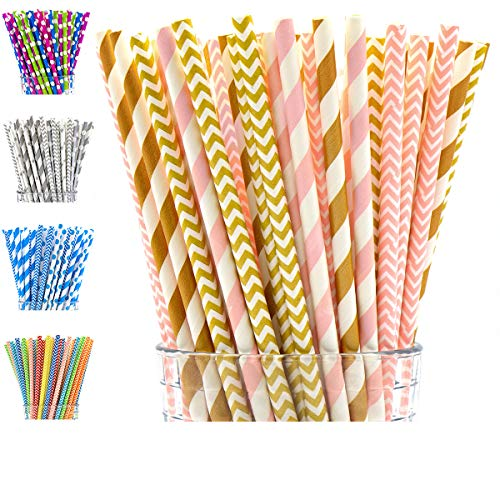 PGK 200-Pack Biodegradable Paper Straws, Pink Straws/Gold Straws, Paper Drinking Straws in Striped and Chevron, Bulk Paper Straws for Party Supplies, Birthday, Wedding, Baby/Bridal Shower (Pink ()