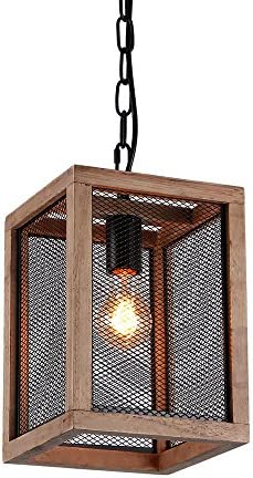 Giluta Rustic Pendant Lighting Metal Wire Cage Chandelier Vintage Ceiling Light Fixture 1-Light for Kitchen Island Dining Room Foyer Entryway P0018