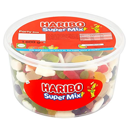 Original Haribo Supermix Party Size Tub A Delicious Mix Of Fun Haribo Shapes Includes Little Jelly Men Milk Bottles Imported From The UK British Gummy Candy (Milk Bottle Candy)
