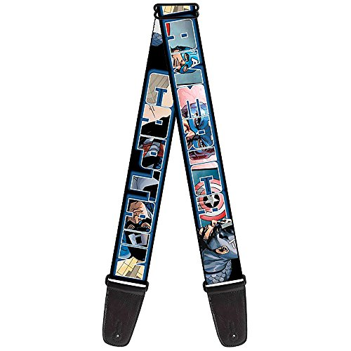 Overlay Buckle - Buckle-Down 2 Inches Wide MARVEL UNIVERSE Guitar Strap - CAPTAIN AMERICA Poses/Bold Text Outline Overlay (GS-WCA017)