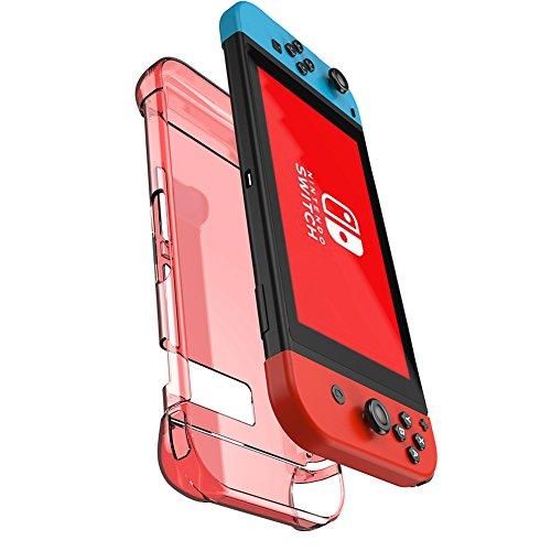 kungber-anti-scratch-hard-back-case-for-nintendo-switch-transparent-ergonomic-cover-skin-2017red
