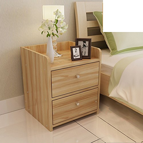 Simple bedside cabinet with assembled wood grain lockers mini bedroom sideboard modern nightstand-A by FJIWDTGYHFGT