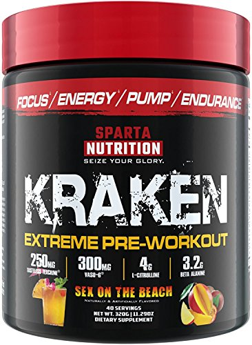 Sparta Nutrition Kraken Pre Workout Powder - Best Pre-Workout for Men / Women, Nitric Oxide Booster & Nootropic Drink to Increase Energy, Focus and Muscle Pumps - Sex on the Beach, 40 Servings by Sparta Nutrition