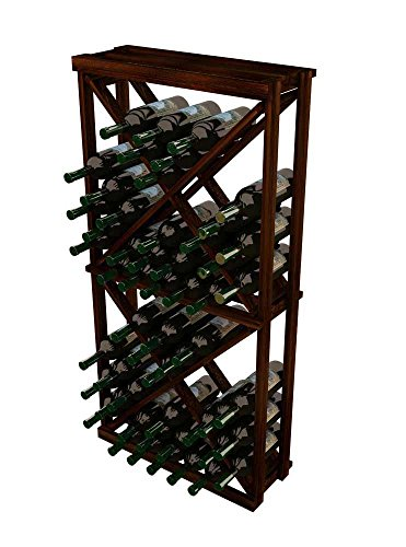 WineMaker Series Wine Rack – 1 Column Open Diamond Cube – 4 Ft – Premium Redwood Dark Walnut Stain For Sale