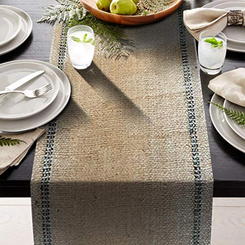 - AAYU Premium Jute Burlap Table Runners | Silver Threaded Border | Two Blue Stripes Inlay | No-Fray | Food Grade Burlap | Eco-Friendly, Natural | 360 inches | Long Wedding Runner